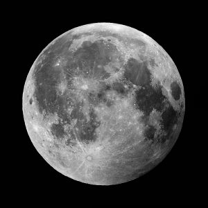 A clear shot of the round moon